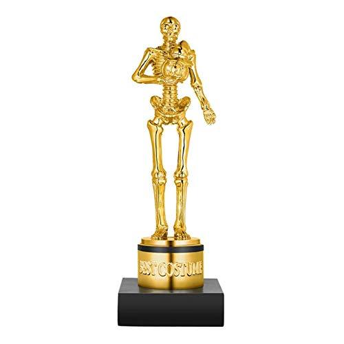 AOIWE 1 Pieza de Trofeo de Mejor Disfraz de Halloween, estatuas de Esqueleto de Calabaza Dorada Esencial para carnavales, Celebraciones, Fiestas, Ceremonia