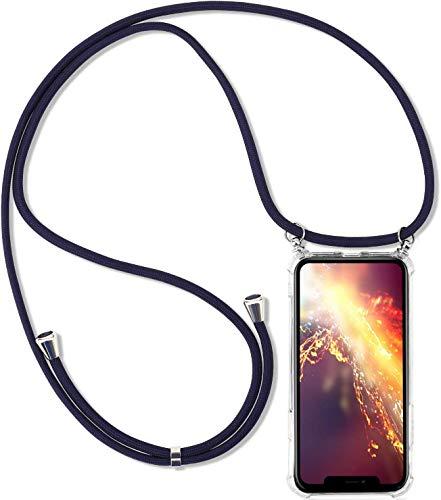 Herbests Kompatibel mit Huawei Honor Y7 2018 Handykette Hülle mit Umhängeband Durchsichtig Necklace Hülle mit Kordel zum Umhängen Schutzhülle Silikon Handyhülle Kordel Schnur Case,Blau