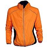 Chaquetas de ciclismo para hombres,Cortavientos reflectantes transpirables a prueba de viento, naranja/fiesta de bloques, X-Large