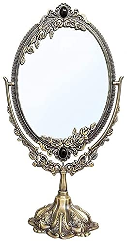 DNGDD Espejo de Maquillaje Espejo de Maquillaje Iluminado Retro Metal Escritorio Espejo de Maquillaje de Doble Cara Espejo de Escritorio Grande HD portátil 531