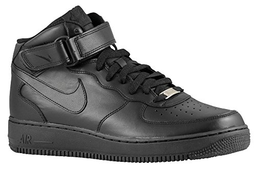 Nike Air Force 1 Mid '07 Herrenschuhe, Schwarz/Schwarz-Schwarz, 315123-001, Größe 42