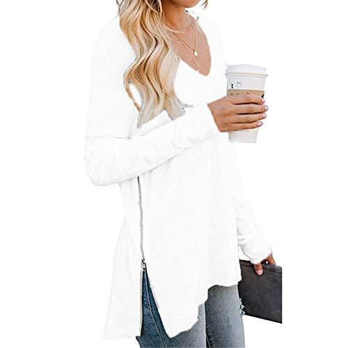 YSLMNOR Split Side Zipper Tops Womens Long Sleeves V Neck Blouses Solid Color Tunic Ladies T Shirt