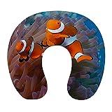 Almohada Cervical Viaje, U Shape Cojin Cuello Viscoelastica, Almohada Antironquidos, Almohada Ortopédic, para el Aeroplano, el hogar, el Oficina (Pescado Rojo)