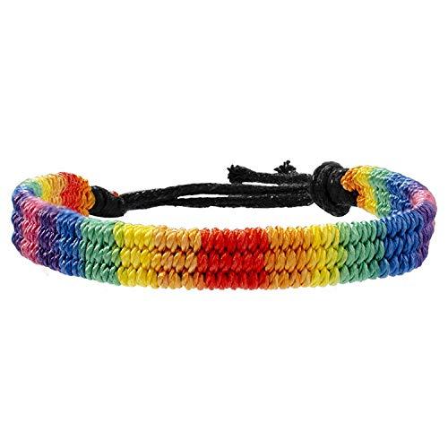 Rainbow LGBT - Pulsera trenzada hecha a mano para pulsera gay y lesbiana LGBTQ tamaño ajustable
