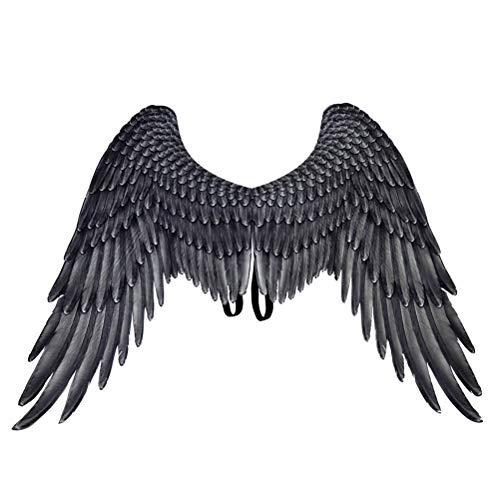 Amosfun - Disfraz de ángel negro con alas de ángel, ideal para cosplay, para hombres, mujeres y adultos