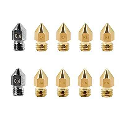 Creality 10 PCS 3D Printer Brass Nozzles Hardened Steel Extruder Nozzles MK8 0.2mm, 0.3mm, 0.4mm,0.5mm, 0.6mm for Makerbot Creality CR-10 Ender 3 5