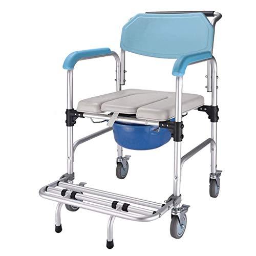 Z-SEAT Silla de Transporte con Inodoro para Ducha con Ruedas y reposabrazos para Silla de Ruedas, Estructura de Acero de Aluminio para Personas Mayores discapacitadas