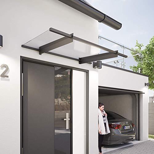 Schulte Vordach 151x92 cm Haustür-Dach Überdachung Stahl Anthrazit rostfrei Acrylglas klar Pultvordach