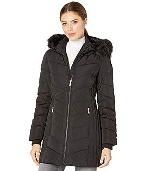 Tommy Hilfiger Women s Mid Length Down Fill Coat with Faux Fur Trim Hood Black Medium