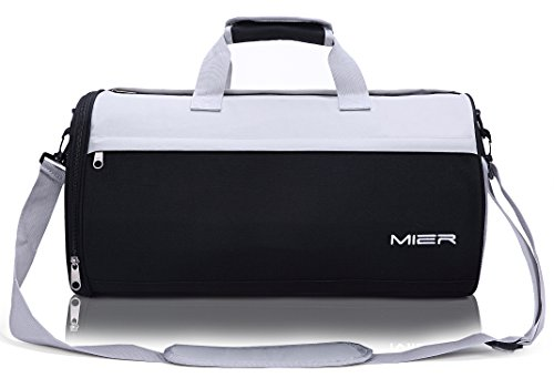 MIER Barrel Travel Sports Bag for Women and Men Small Gym Bag with Shoes Compartment 19.7inches(Black)