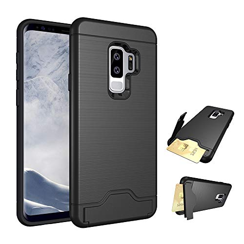 Phone Case for Galaxy S9 Plus/S9+ Cases with Credit Card Holder Slot Kickstand Stand Heavy Duty Hybrid Hard Rugged Shockproof Dual Layer Protective Cover Samsung S9plus 9Splus Girls Men Black
