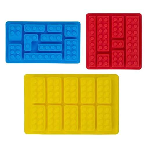 3 Pezzi Stampi in Silicone per Mattoni da Costruzione, Stampi per Blocchi da Costruzione, Stampi per Caramelle Cubetti di Ghiaccio Multi-Formato, per Bambini, Feste e Minifigure da Forno