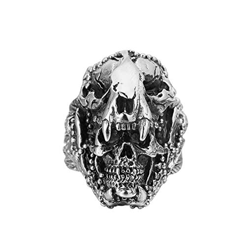 ZiFei Anillo Jaguar Warrior Skull Anillos de Acero Inoxidable para Hombre Esqueleto Gótico Punk Vintage Novio Joyería Regalo,10