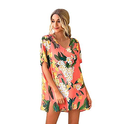Damen Sandstrand Shirt Böhmen Drucken Fledermausärmel Frauen Mode Motiv Rundhals Shirt Sommer Oberteile Elegant Bluse Tshirt