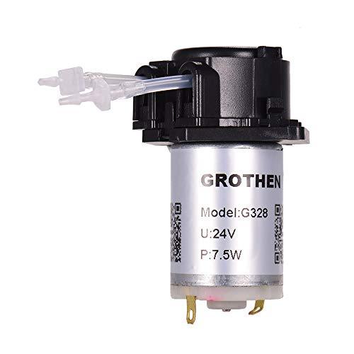 Aibecy Grothe DC 24 V peristaltische pomp doseerpomp mini water vloeistofpomp slangkop zelfaanzuigende functie voor de chemische analyse van aquaria-laboratoria doseeradditieven in platte panel-stijl Schwarz-1mmX3mm