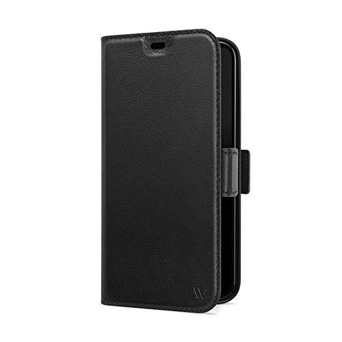 WIIUKA Hülle für iPhone 12/12 Pro, Lederhülle mit Vier Kartenfächern, extra Dünn, Premium Leder, Handyhülle mit Standfunktion, Tasche Schwarz