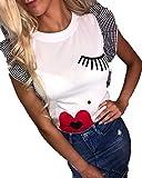 MEIbax Impresión de Labios de pestañas Rojas Camiseta de Mujer Moda Top de Manga Corta con Volantes para Mujer Ropa de Moda de Verano para Mujer Camisa T Shirt Blusa Dia de Miembro