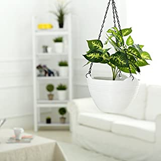 Home Marvel UV Treated Hanging Plastic Flower Pots with Hanging Chains for Balcony Plants Garden Decor (Pack of 3) White C...