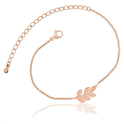Selia Feder Armband Feather Olivenzweig Armreif Leaf Blatt minimalistische Optik Edelstahl handgemacht (Rosegold)