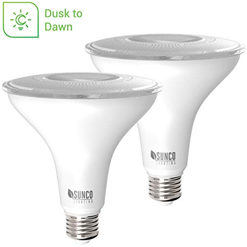Sunco Lighting 2 Pack PAR38 LED Bulb with Dusk-to-Dawn Photocell Sensor, 15W=120W, 5000K Daylight, 1250 LM, Auto On/Off, Security Flood Light Indoor/Outdoor - UL