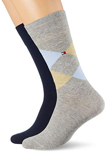 Tommy Hilfiger Checkered Socks Calcetines, gris claro, 47-49 para Hombre