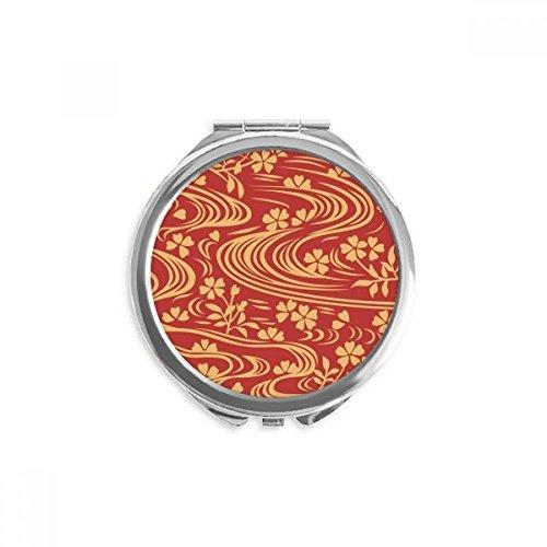 DIYthinker curly rouge culture japonaise fleur miroir rond maquillage de poche à la main portable 2,6 pouces x 2,4 pouces x 0,3 pouce Multicolore
