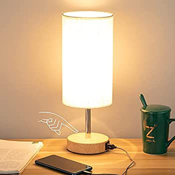 Bedside Lamp with USB port - Touch Control Table Lamp for Bedroom Wood 3 Way Dimmable Nightstand Lamp with Round Flaxen Fabric Shade for Living Room Kids Room College Dorm Office LED Bulb Included