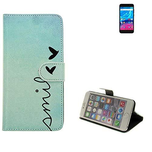 K-S-Trade® Schutzhülle Für Archos Core 50P Hülle Wallet Case Flip Cover Tasche Bookstyle Etui Handyhülle ''Smile'' Türkis Standfunktion Kameraschutz (1Stk)