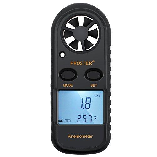 Anemómetro Termómetro Digital de Pantalla LCD Medidor de Velocidad Viento Aire con Luz de Fondo para Vela, Cometa, Surf, Marina, Pescar, etc