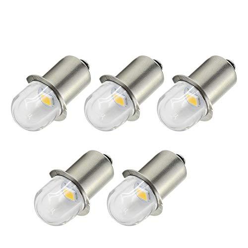 Ruiandsion Bombillas LED P13.5S para linterna de cabeza, luz blanca cálida, 6 V, repuesto para faros delanteros, luz de tierra negativa (paquete de 5)
