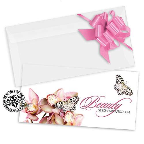 10 Geschenkgutscheine DIN-lang + 10 Kuverts + 10 Schleifen. Gutscheine für Kosmetikstudio Kosmetik beauty Kosmetikinstitut. KS9266