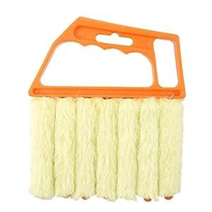 Cepillo veneciano con 7 limpiadores de polvo para persianas con láminas, fácilmente lavable