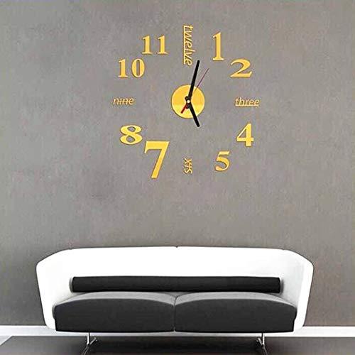 ROCONAT Mode stomme ronde vorm kwarts wandklok sticker Home decoratieve klok wandklokken 1 goud