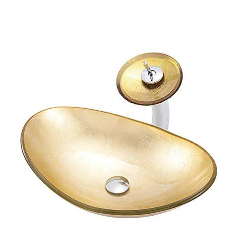 Lavabos Sobre Encimera Lavabo Cristal Dorado Lavamanos Lavabos, Moderno Fregadero para Baño-Forma de Lingote:con Grifo