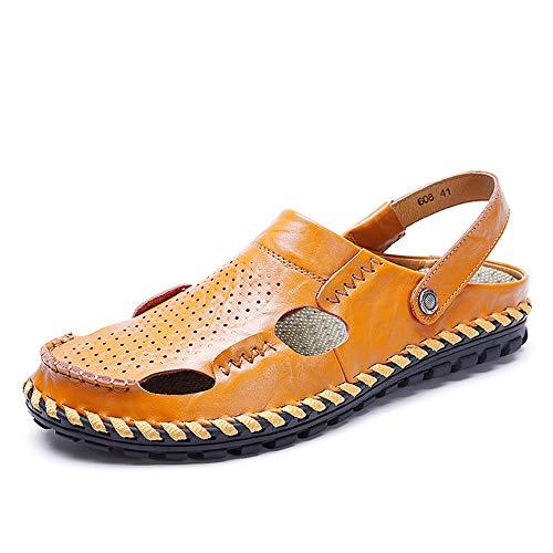 KCCCC Zapatos de Playa para Hombres Deportes al Aire Libre Jardinería Ligero Cómodo Sandalias Ajustables Casual Transpirable (Color : Yellow-Brown, Size : 40)
