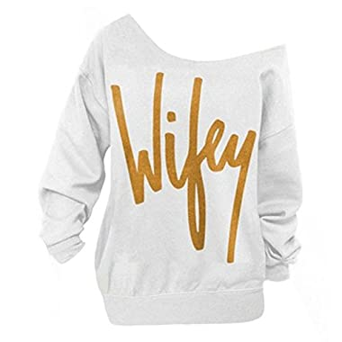Begonia.K Women's Wifey Shirt Letter Print Off The Shoulder Slouchy Pullovers, White/Gold, Medium