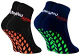 Rainbow Socks - Niñas Niños Calcetines Antideslizantes de Deporte - 2 Pares - Negro Azul - Talla 24-29
