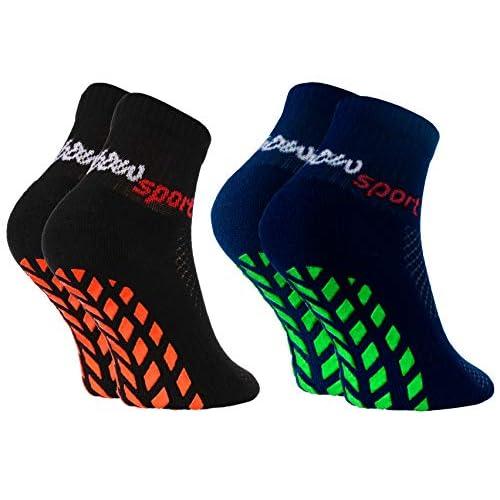 Rainbow Socks - Ragazza Ragazzo Neon Calze Sportive Antiscivolo - 2 paia - Nero Blu - Taglia 24-29