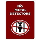 BITT Cartel de metal chic de aluminio sin detectores de actividad, parque de prohibición de rojo y campground, impermeable, estilo vintage, para hoteles, 20 x 30 cm