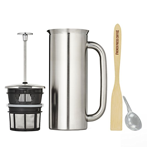 Espro Press P7, Stainless Steel French Press, Double Wall, Vacuum Insulated (3-4 cups, 18 ounce, Brushed) Bundle with Handcrafted Bamboo Paddle, Coffee Scoop