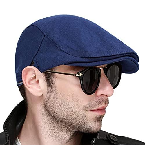 Mode Béret Homme Femme Chapeau Sauvage Chaud Printemps Coton Bérets Hip Hop Chapeau, bleu marine, Taille unique,