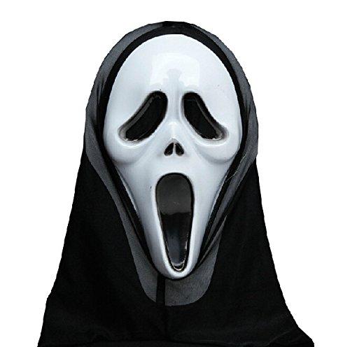 Qihu's, lange Backen, Scream-Scary Movie Ghost Maske Grimasse schneiden Concert Geburtstag Party Maske Disguise Kostüm Halloween, Weihnachten-Scary Rollenspiel Acting Fancy Dress Abendkleid hochwertige Gif Dance Ball