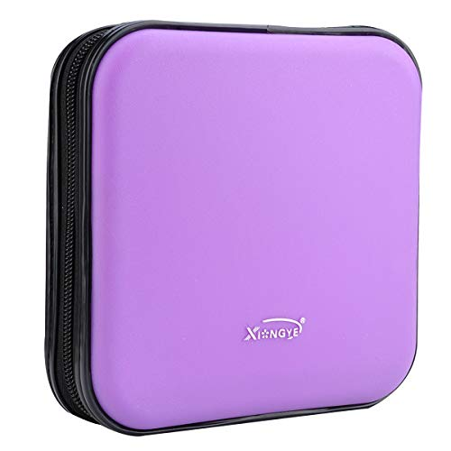 XiongYe CD DVD Wallet, 32 Capacity Heavy Duty, DVD CD Case Holder for Car,Portable DVD/VCD Storage Disk, Hard Shell Sturdy case, Car CD Disk Holder, Booklet, Blu-ray Wallet (32 Capacity,Purple)