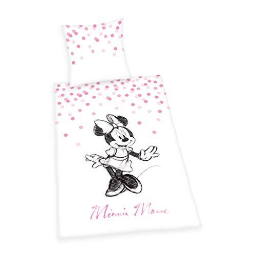 Juego de Ropa de Cama de Minnie Mouse, Funda de Almohada de 70 x 90 cm, Funda nórdica de 140 x 200 cm, con Cremallera de Calidad.