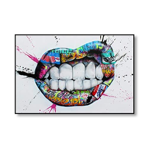 DFSDG Straßengraffiti Kunst Leinwand Malerei Liebhaber Hände Kunst Wand Poster und Drucke Lip Parfüm Artwork Bild für Wohnzimmer Dekor (Color : Style 4, Size : 50x70cm Frameless)