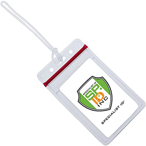25 Pack - RESEALABLE Clear Plastic Luggage Identification Tags with Loops Included - Business Card or Photo Insert Bag Tags - Great for Travel and Student ID's by Specialist ID