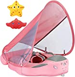 Newest Mambobaby Non Inflatable Swim Trainer Size Improved Add Tail Never Flip Over UPF 50+ Sun Canopy Solid Swimming Pool Float