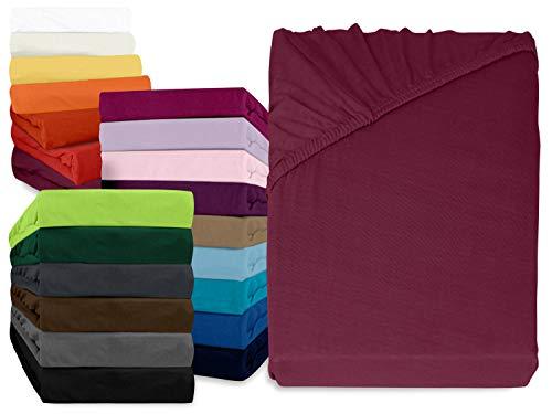 npluseins klassisches Jersey Spannbetttuch - erhältlich in 34 modernen Farben und 6 verschiedenen Größen - 100% Baumwolle, 120 x 200 cm, Pflaume