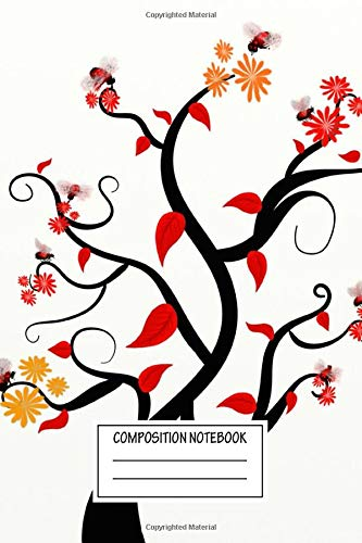 Composition Notebook: Pop Art Tree With Flowers Silhouettes Wide Ruled Note Book, Diary, Planner, Journal for Writing