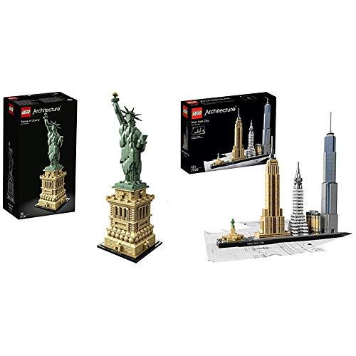 LEGO 21042 Architecture Freiheitsstatue, Mehrfarbig & 21028 Architecture - New York City, Skyline-Kollektion, Bausteine